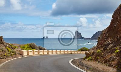 Scenic road on the Atlantic Ocean coast of Tenerife, Spain.