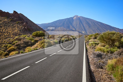 Scenic road with Mount Teide in background, Teide National Park, Tenerife, Spain.