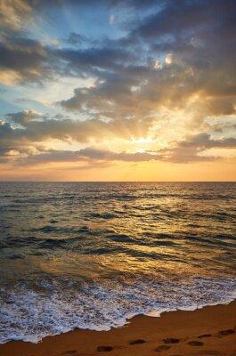 Scenic sunset over tropical beach, Sri Lanka.