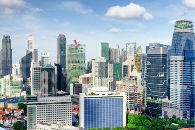 Scenic view of skyscrapers in Singapore. Amazing cityscape