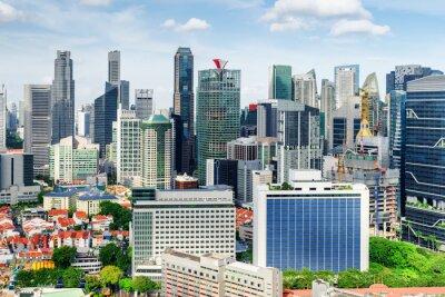 Scenic view of skyscrapers in Singapore. Summer cityscape