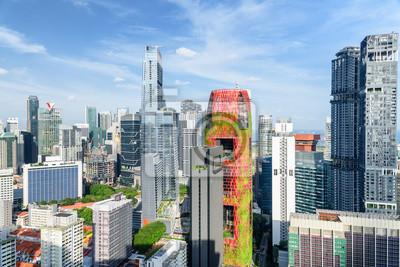 Scenic view of skyscrapers in Singapore. Sunny summer cityscape