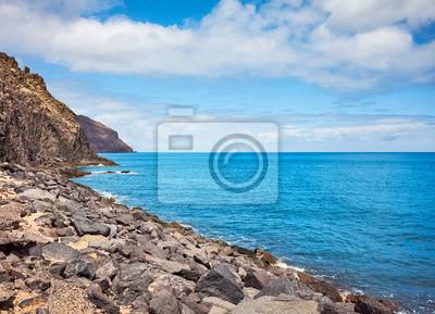 Scenic volcanic rock coast near San Andres, Tenerife.