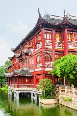 Obraz Sceniczny tradycyjny czerwony Chiński budynek w Szanghaj, Chiny
