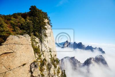 Sceniczny widok od Huashan góry, Chiny.