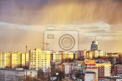 Sceniczny zmierzch nad Szczecińskim miastem, Polska
