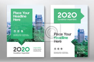 Obraz Schemat Kolor zielony z miasta tle Business Book Pokrycie szablon w formacie A4. Można dostosować się do broszury, sprawozdania rocznego, czasopisma, plakat, prezentacja Corporate portfel, ulotka, Ban