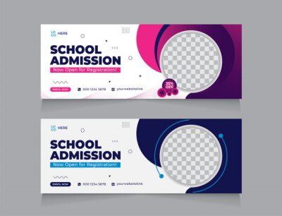 Obraz school education Facebook cover page layout & kids school admission web banner template design set