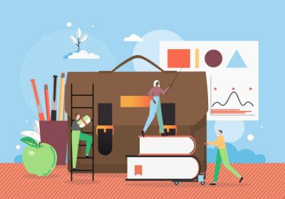 School education. Teacher female character with pointer standing on pile of books, flat vector illustration.