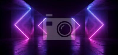 Obraz Sci Fi Arrows Shaped Neon Cyber Futuristic Modern Retro Alien Dance Club Glowing Purple Pink Blue Lights In Dark Empty Grunge Concrete Reflective Room Corridor Background 3D Rendering