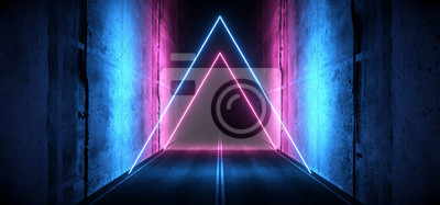 Obraz Sci Fi Futuristic Asphalt Cement Road Double Lined Concrete Walls Underground Dark Night Car Show Neon Laser Triangles Glowing Purple Blue Arc Virtual Stage Showroom 3D Rendering