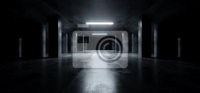 Obraz Sci Fi Modern Dark Concrete Cement Asphalt Futuristic Spaceship Elegant Underground Garage Tunnel Corridor Empty Space White Glow Glossy Columns 3D Rendering