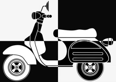 Obraz Scooter pop art en noir et en blanc