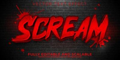 Obraz Scream editable text effect, dead and scary text style.