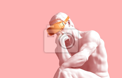 Obraz Sculpture Thinker With Golden VR Glasses On Pink Background