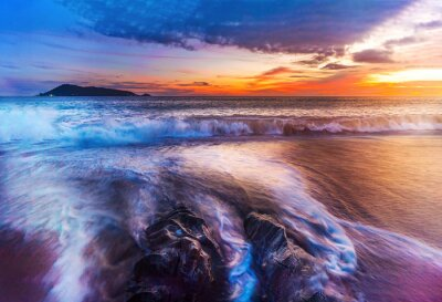 Sea and beach sunset or sunrise with colorful of sky and cloud in twilight