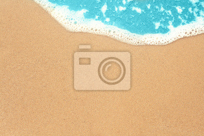 Obraz Sea sand and surf texture background. Vacation on ocean beach, summer holiday concept