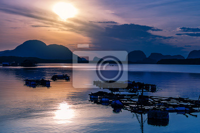 Sea sunset or sunrise with colorful of sky and cloud in twilight