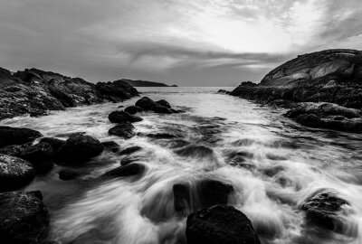 Sea sunset or sunrise with colorful of sky and cloud in twilight, Black and white and monochrome style