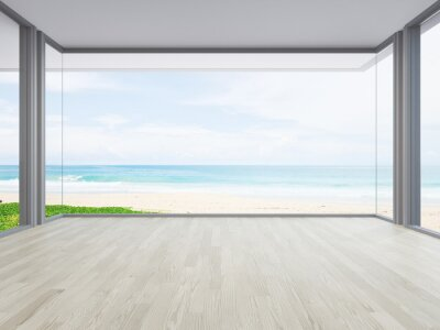 Obraz Sea view large living room of luxury summer beach house with big glass window and wooden floor. Interior 3d illustration in vacation home or holiday villa.