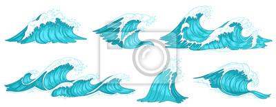 Obraz Sea wave. Vintage ocean waves, blue water tide and tidal wave hand drawn vector illustration set
