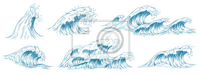 Obraz Sea waves sketch. Storm wave, vintage tide and ocean beach storms hand drawn vector illustration set