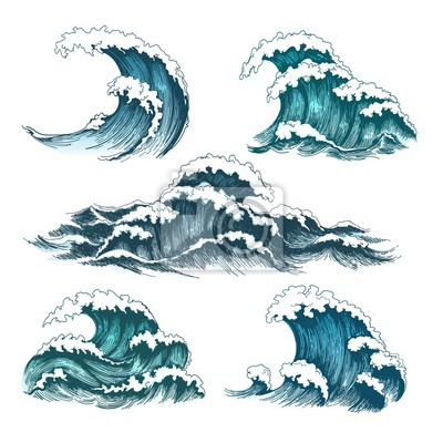 Obraz Sea waves. Vintage cartoon ocean tidal storm waves isolated on white background for surfing and seascape, vector illustration