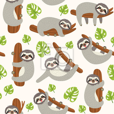 Seamless background with Sloth on the branch. Vector illustration of leaves and cute bear on white . Floral and animal pattern.