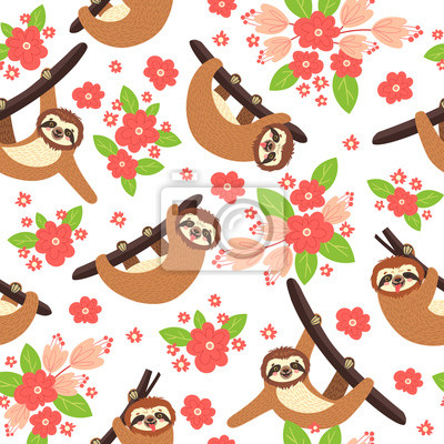 Seamless background with Sloth on the branch. Vector illustration of leaves, flowers and cute bear on white . Floral and animal pattern.