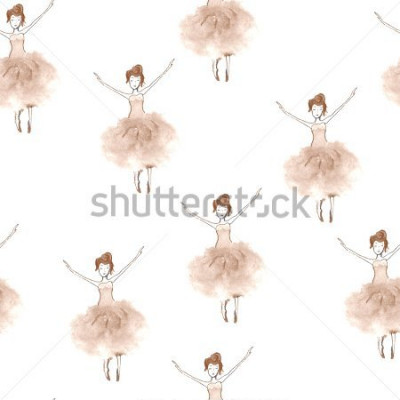 Obraz Seamless background with watercolor elegant ballet dancers. Hand painted elements. Decorative pattern for web, wallpaper, textile, clothing, fabric, scrapbook, stationery, home decor.