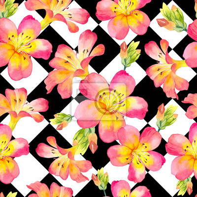 Seamless background with watercolor tropical flowers. Beautiful plants on black and white geometric pattern.