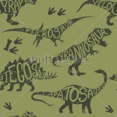 Obraz Seamless  camouflage Dino pattern, print for T-shirts, textiles, wrapping paper, web. Original design with t-rex, dinosaur.  grunge design for boys and girls
