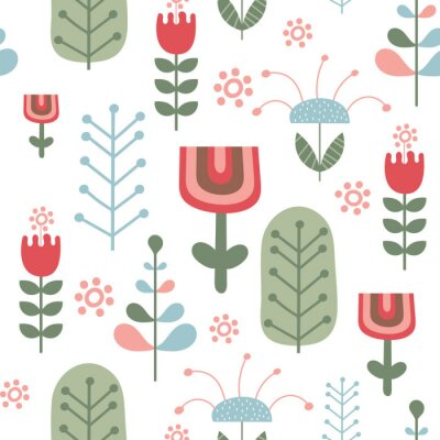 Seamless flower pattern in Scandinavian style. Vector Illustration. Kids illustration for nursery design. Great for baby clothes, greeting card, wrapping paper.
