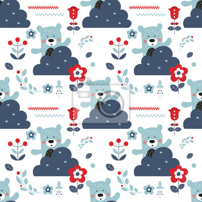 Seamless flower pattern with bears and forest elements in Scandinavian style. Vector Illustration. Kids illustration for nursery design. Great for baby clothes, greeting card, wrapper.