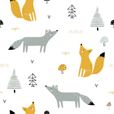 Obraz Seamless forest pattern with foxes, trees, mushrooms. Creative minimalistic kids for fabric, wrapping, textile, wallpaper, apparel. Vector illustration