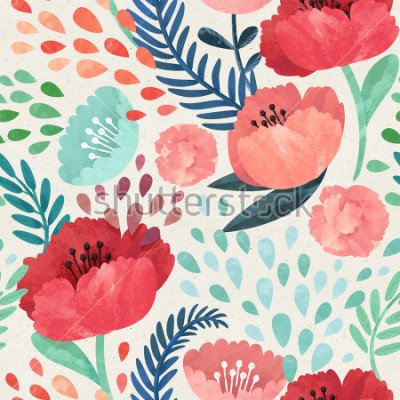 Obraz Seamless hand illustrated floral pattern on paper texture. Watercolor botanical background