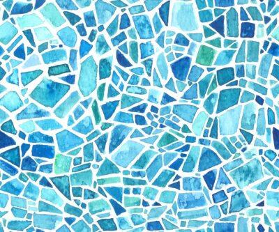 Obraz Seamless mosaic texture. Vector blue kaleidoscope background. Watercolor geometric pattern. Stained glass effect.