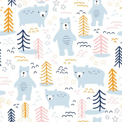 Obraz Seamless pattern bears in forest hand drawn vector illustration. Scandinavian style repeating animal nature background in blue, yellow, orange, pink on white. For wallpaper, fabric, kids decor, baby