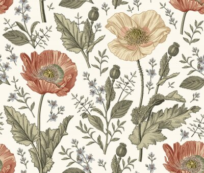Obraz Seamless pattern. Beautiful blooming realistic isolated flowers. Vintage background fabric. Poppy Croton wildflowers. Wallpaper baroque. Drawing engraving sketch Vector victorian