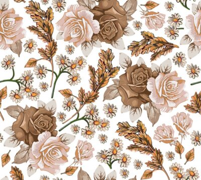 Obraz Seamless pattern. Chamomile Roses Ears wildflowers. Beautiful blooming realistic isolated flowers. Vintage background fabric. Wallpaper baroque Drawing engraving sketch. Vector victorian illustration.