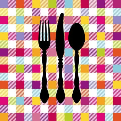 Obraz Seamless Pattern Coloured Sprawdź Sztućce