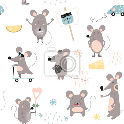 Seamless pattern - cute cartoon mouses and cheese in Scandinavian style. Vector Illustration. Kids illustration for nursery design. Great for baby clothes, kids print, wrapping. Symbol of 2020 year.