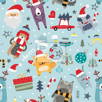 Seamless pattern for Christmas with elements Christmas and forest animals - fox, wolf, bear. Cute pattern for gift wrapping paper, t-shirts, greeting cards. Vector illustration. Scandinavian style.