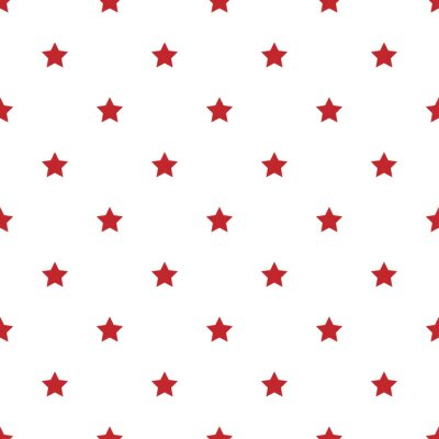Obraz Seamless pattern of red stars on a white background