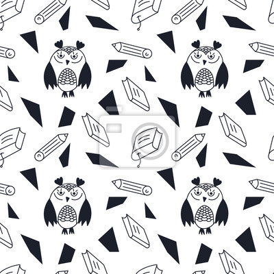 Obraz Seamless pattern. School theme, cute owls, books, pencils. Monochrome.