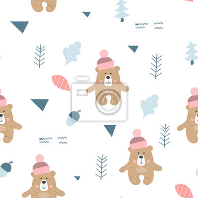 Seamless pattern with bear, forest elements in Scandinavian style. Vector Illustration. Kids illustration for nursery design. Great for baby clothes, greeting card, wrapper.