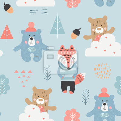 Seamless pattern with bears, fox, forest elements in Scandinavian style. Vector Illustration. Kids illustration for nursery design. Great for baby clothes, greeting card, wrapper.
