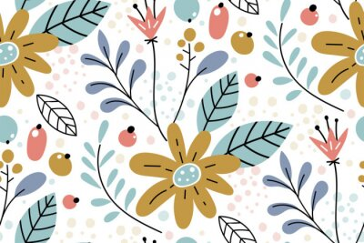Obraz Seamless pattern with creative decorative flowers in scandinavian style.