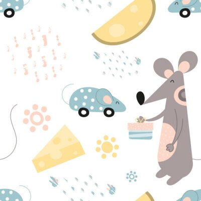 Seamless pattern with cute cartoon gray mouse in Scandinavian style. Vector Illustration. Kids illustration for nursery design. Great for baby clothes, textile, wrapping paper. Symbol of 2020 year.