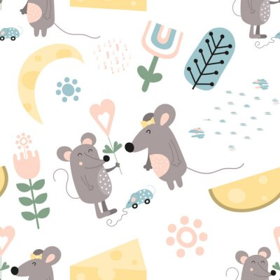 Seamless pattern with cute cartoon mouses, cheese and flowers in Scandinavian style. Vector Illustration. Kids illustration for nursery design. Great for baby clothes, wrapping. Symbol of 2020 year.